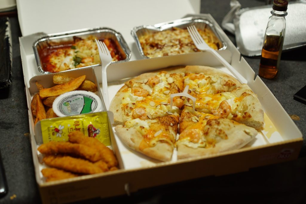 Food, takeaway, pizza, lasagna, chicken fingers