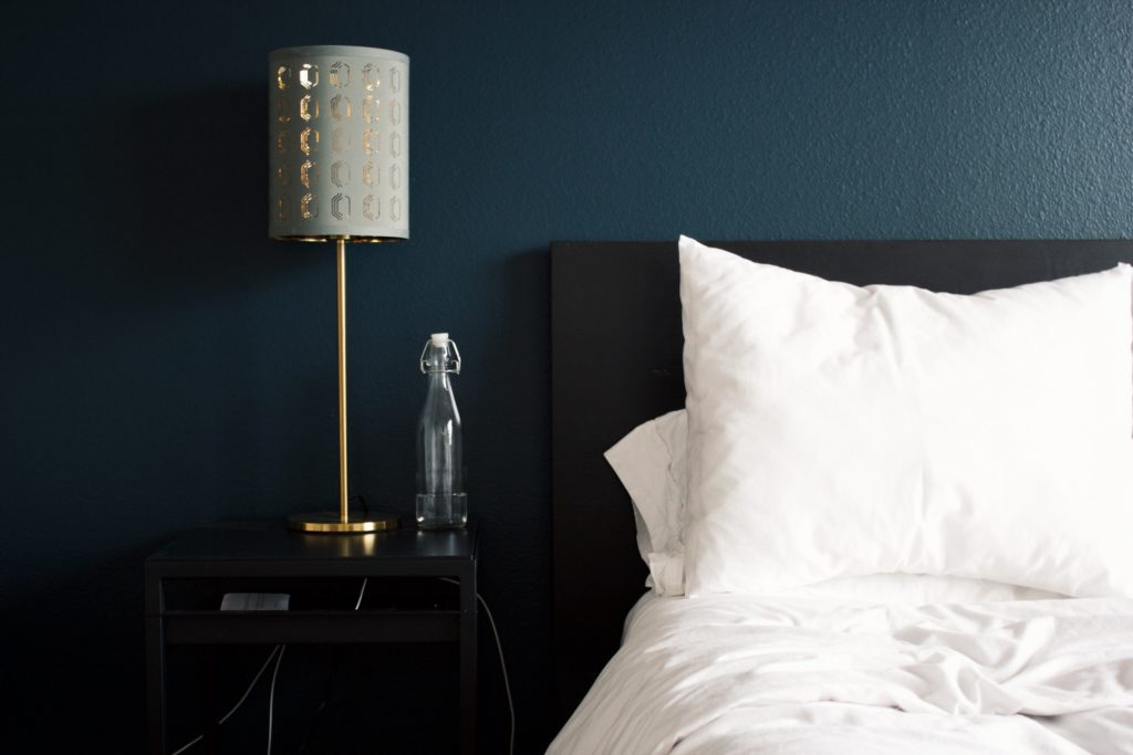 Pillow, lamp, bed table