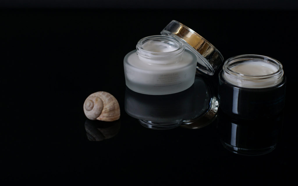 Cream, beauty, shell, black, face cream