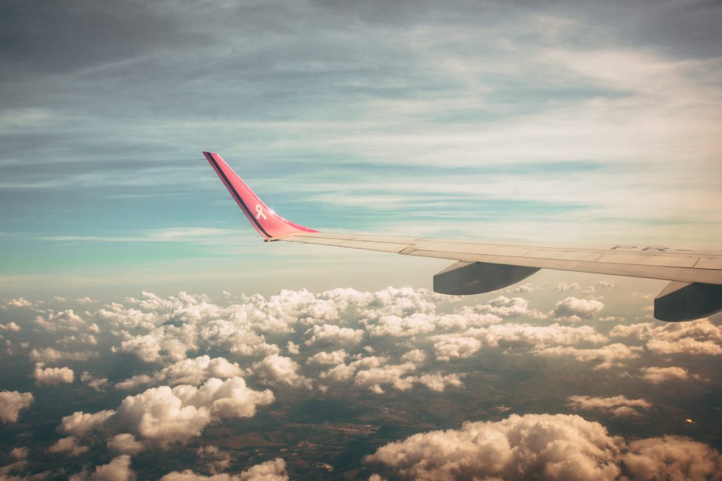 Plane, wing, plane wing, coulds, flying