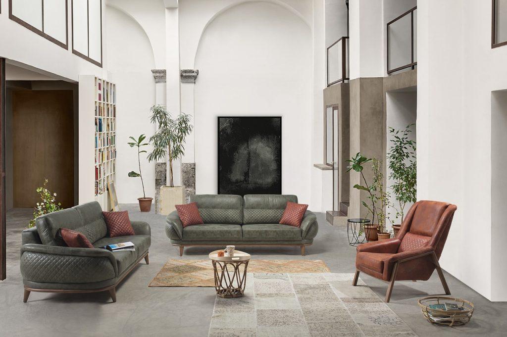Living room, sofa, armchair, white