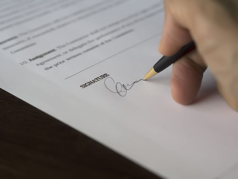Pen, sign, contract, signature, agreement