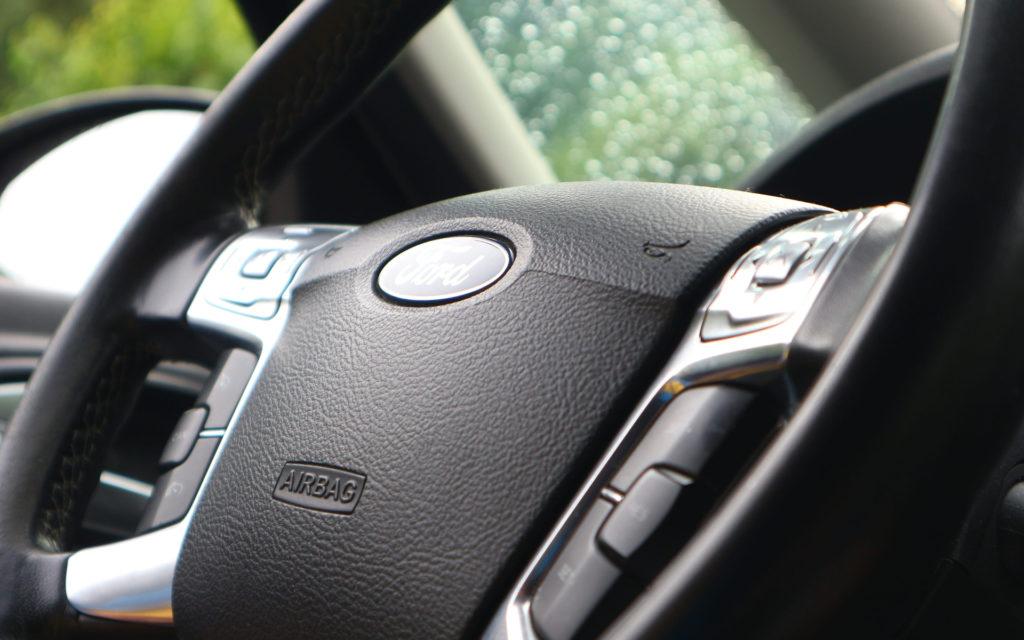 Driving wheel, close up, black