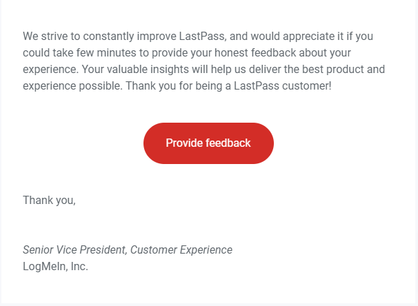 Email from LastPass